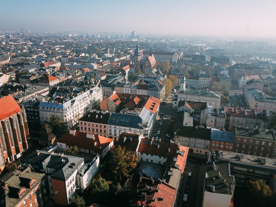 Aerial View of the Old Polish City of Krakow